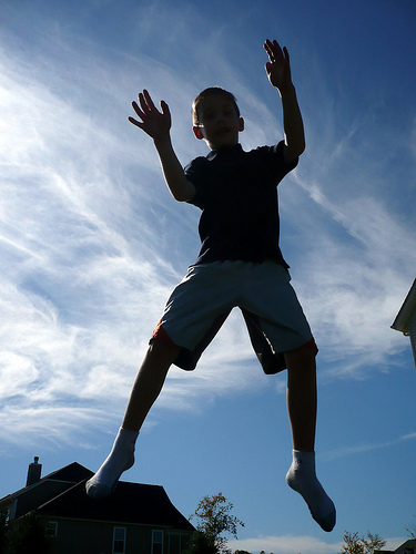 Benton on the trampoline