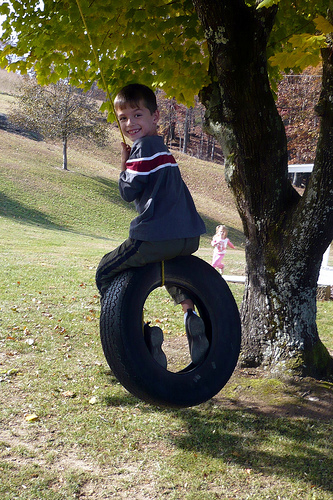Carson on the Tire Swing