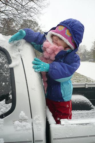 Alana Clears off the Snow
