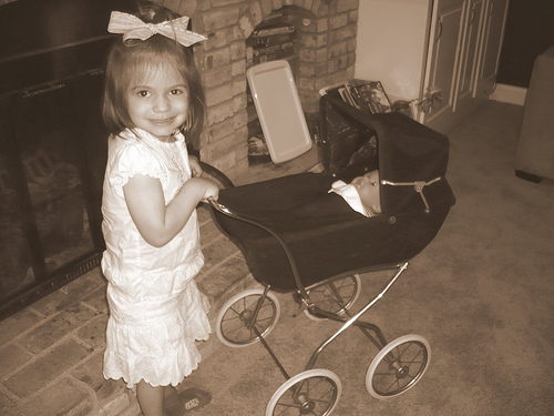 Alana and her new baby buggy