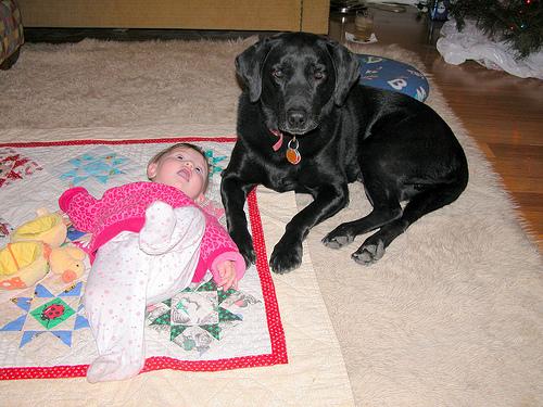 Elwyn and Alana on the floor