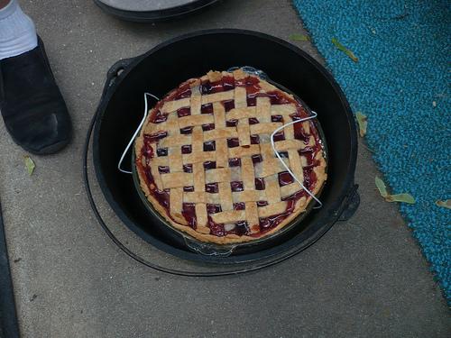 Dutch Oven Cherry Lattice Pie