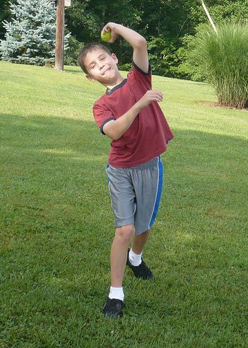 Benton practices a stunt pitch