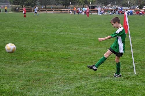 Benton makes a corner kick