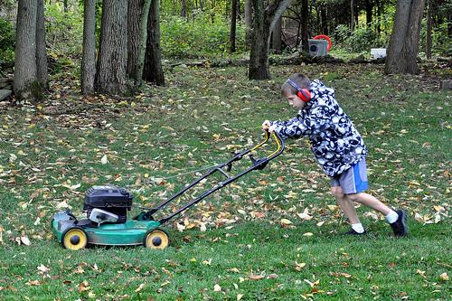 Benton mows the yard