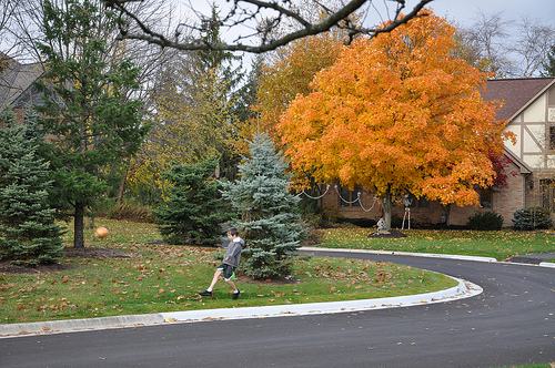 Benton -- front yard soccer in the fall