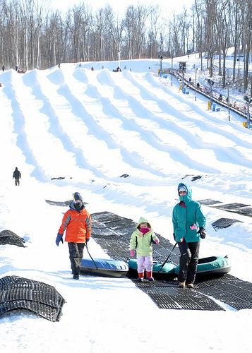 Benton, Alana, and Julie after a Snow Tubing Run