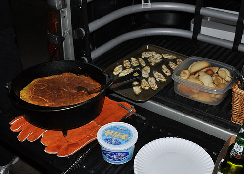 Tamale pie, jalapeno poppers, and fresh rolls
