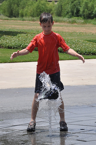 """Benton works on """"hat levitation"""" in the fountains"""
