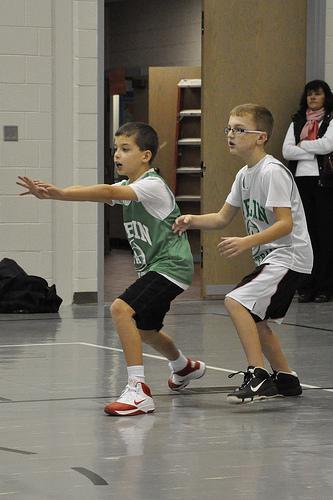 Carson playing basketball