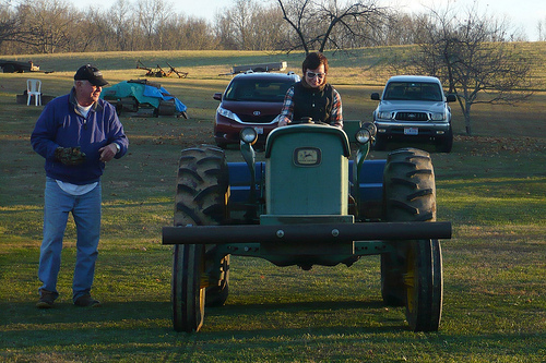 Patti Drives the Tractor