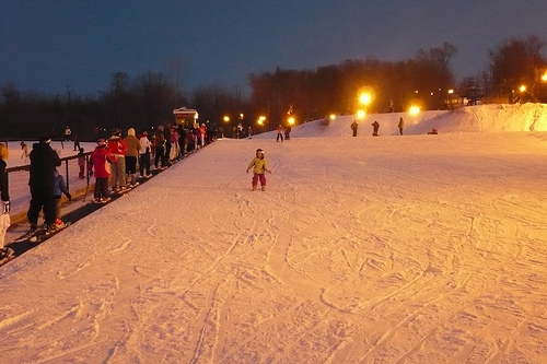Alana Solos Down the Bunny Hill Just after Sunset