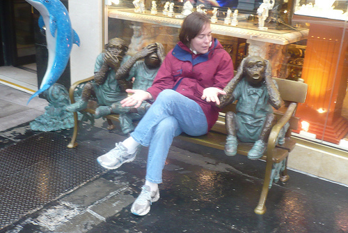 Julie with some statues