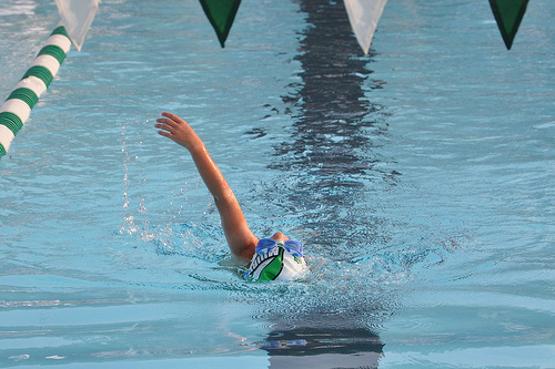 Alana backstroking -- note the position of her goggles
