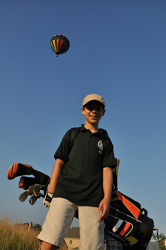 Benton and the hot air balloon that passed over