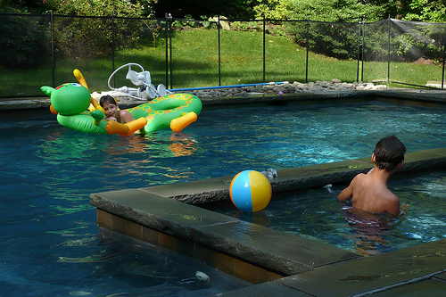 Benton and Carson in the Hallac Pool