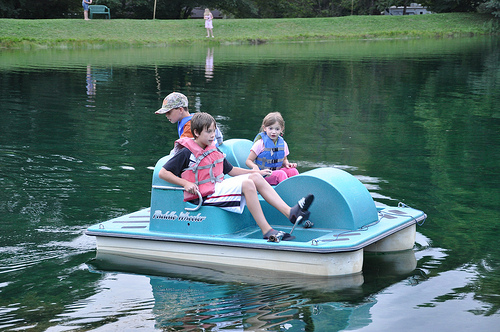 Wilson Kids on the paddleboat at our campground