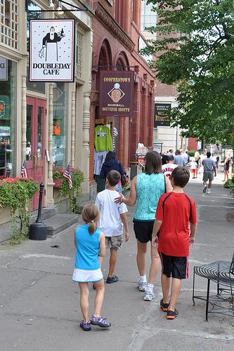Walking down Main Street in Cooperstown
