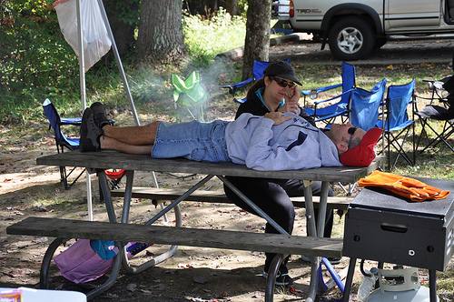 Randy Gets His Daily Physical Therapy...Even When Camping