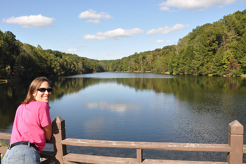 Julie at the lake at Hocking Hills State Park