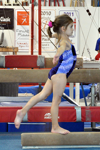 Alana on the low beam