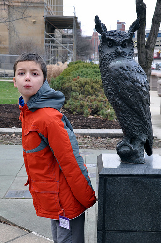Carson Poses with an Owl at Battelle Riverfront Park