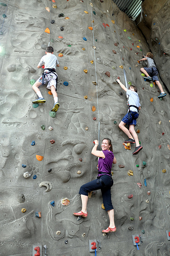 Carson, Julie, and Benton on the rock wall