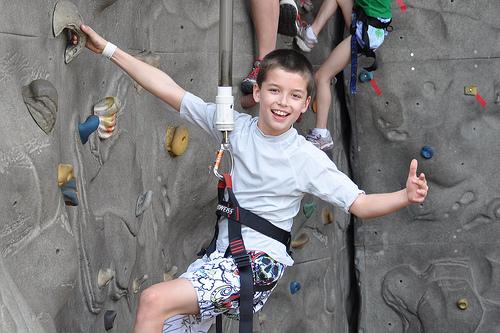 Carson gives rock wall climbing a thumbs-up