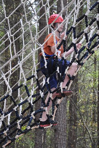 Benton climbs up Climb 2 Zip