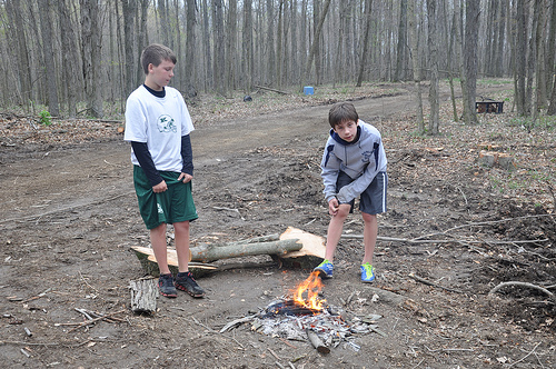 Benton and Josh build a fire