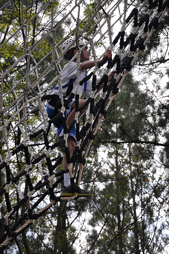 Carson climbs up Climb 2 Zip