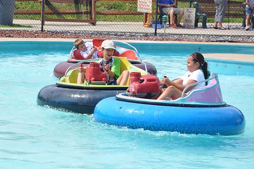 Carson in a Bumper Boat
